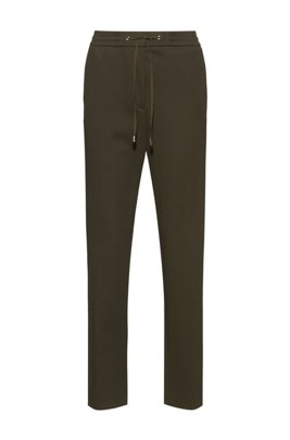 Stretch-fabric trousers with logo-tape drawstring waistband, Khaki