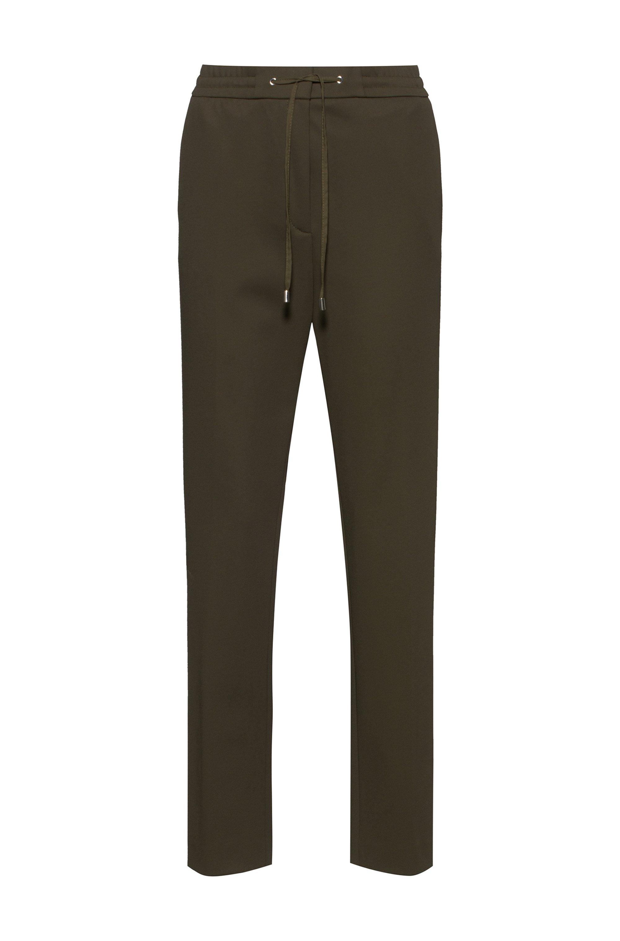 Regular-Fit Hose aus Stretch-Gewebe mit Logo-Tape am Tunnelzugbund, Khaki
