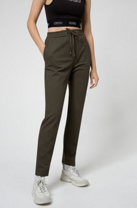 Pantalon en tissu stretch avec taille à cordon de serrage et bande logo, Kaki
