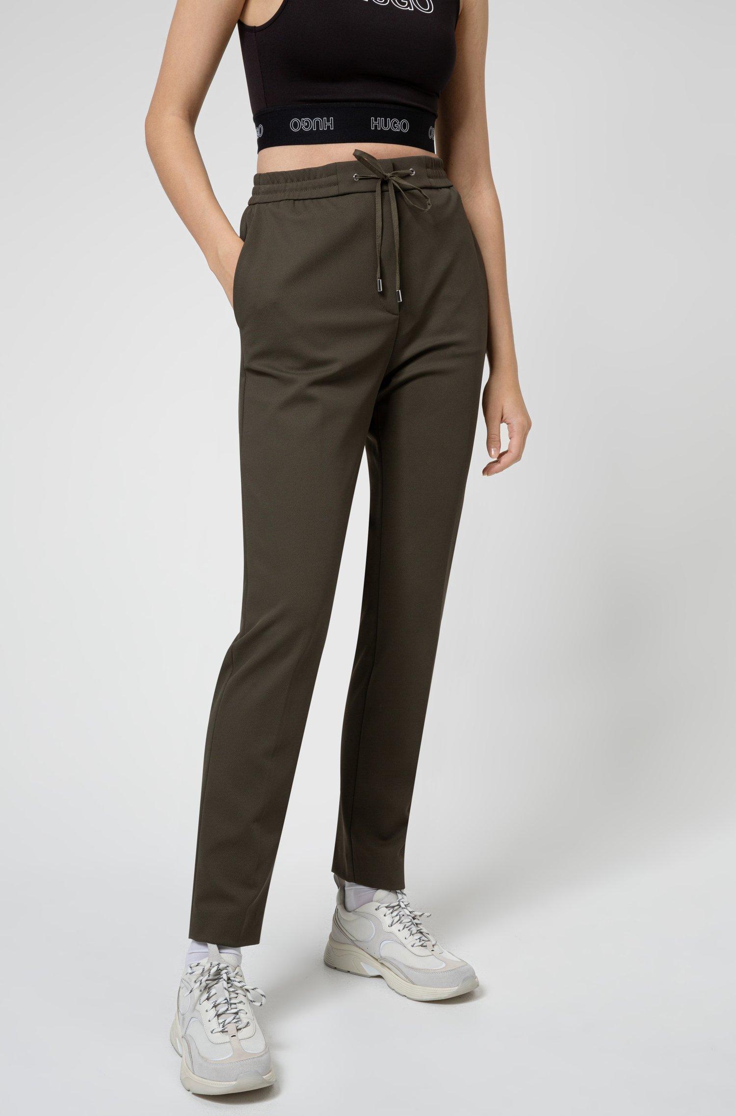 Stretch-fabric trousers with logo-tape drawstring waistband, Khaki