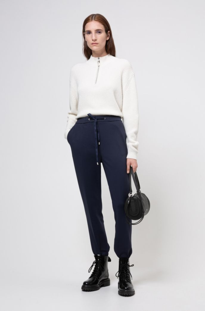 Stretch-fabric trousers with logo-tape drawstring waistband