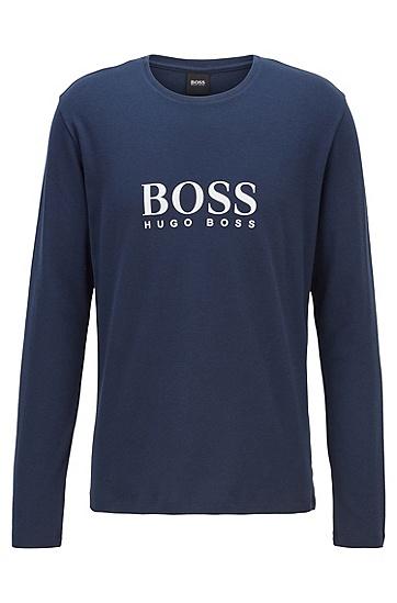 胸口饰有徽标图案的棉质睡衣 T 恤,  402_暗蓝色