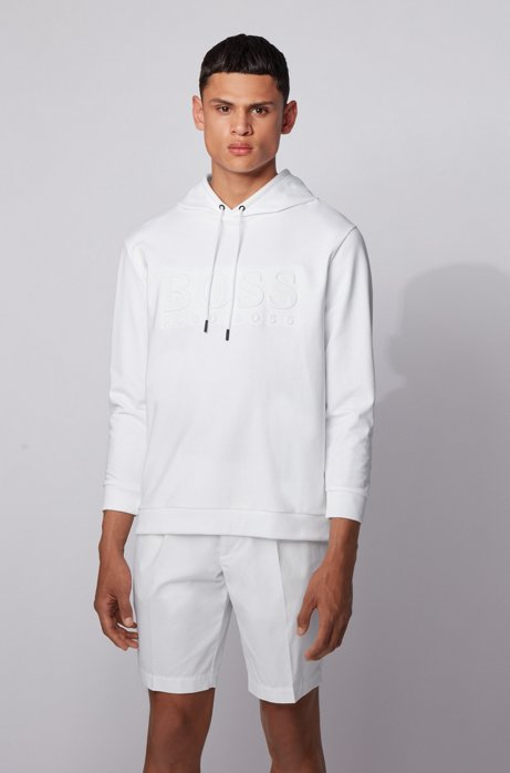Hooded loungewear sweatshirt in French terry with embossed logo, White