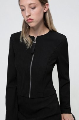 Collarless regular-fit jacket with zip closure, Black