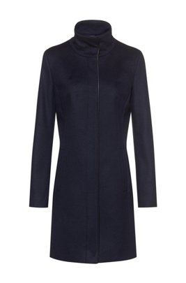 Slim-fit coat with faux-leather piping, Dark Blue