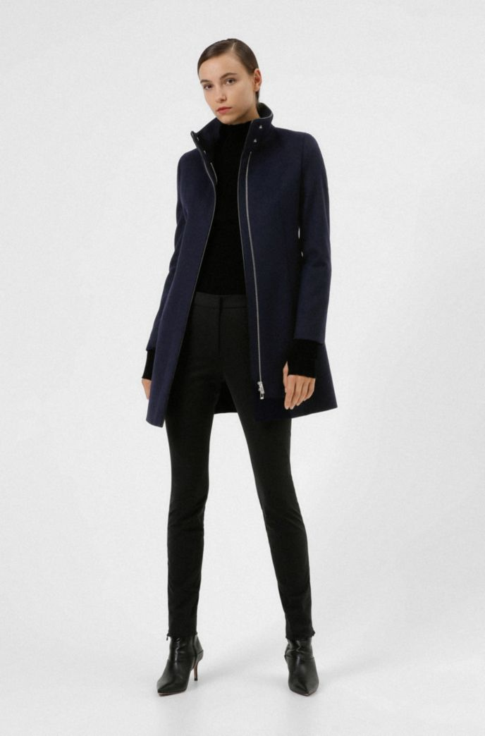 Slim-fit coat with faux-leather piping