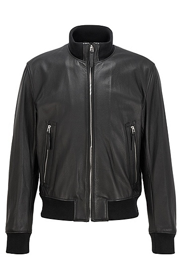 粒面皮革面料宽松版夹克,  001_黑色