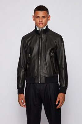 Relaxed-fit jacket in grained leather, Black