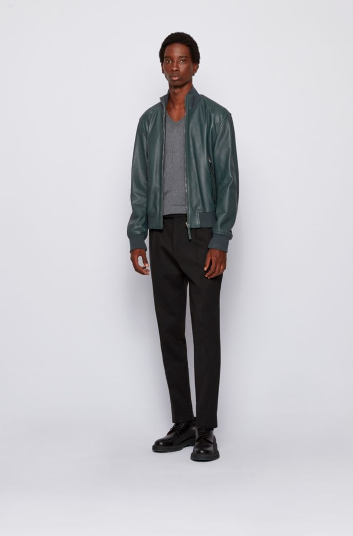 Relaxed-fit jacket in grained leather