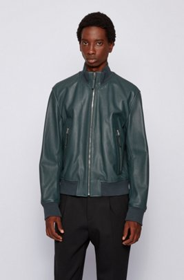 Relaxed-fit jacket in grained leather, Light Green