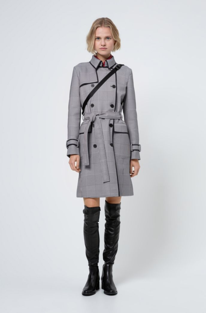 Double-breasted trench coat in Glen-check fabric