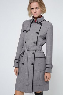 Double-breasted trench coat in Glen-check fabric, Light Blue