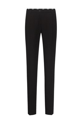 Regular-fit trousers with logo tape trim, Black