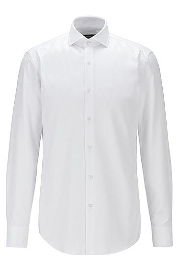 微结构棉质修身衬衫,  100_白色