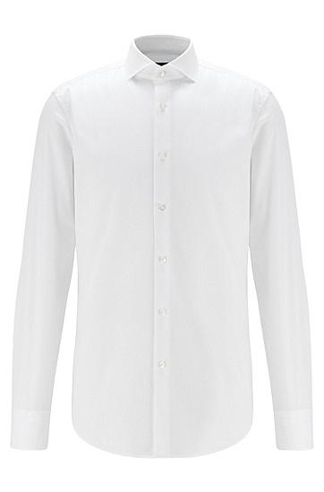 纹理棉斜纹布修身衬衫,  100_白色