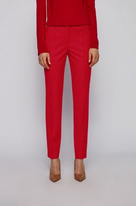 Regular-fit cropped trousers in traceable stretch virgin wool, Red