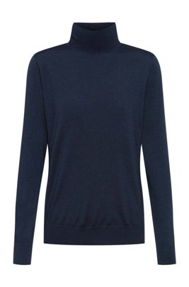 Rollneck sweater in virgin wool with metal logo trim, Light Blue