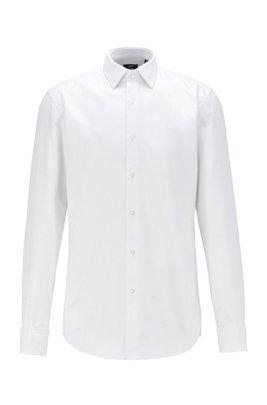 Slim-Fit Hemd aus dezent strukturierter Baumwolle, Weiß