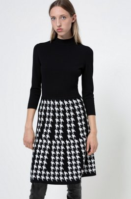 Mock-neck knitted dress with houndstooth skirt, Patterned