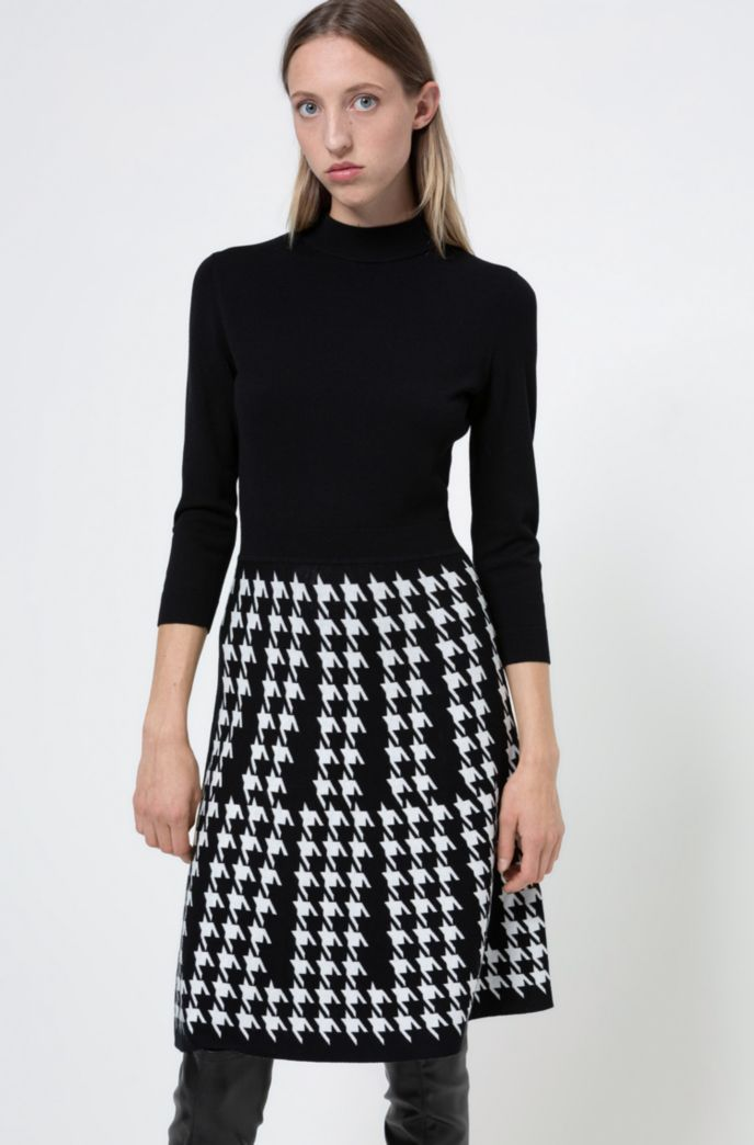 Mock-neck knitted dress with houndstooth skirt