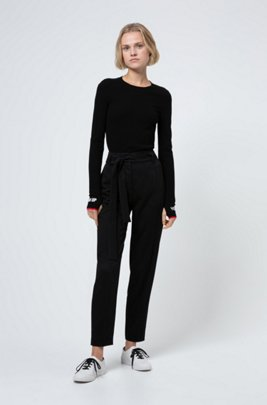 Slim-fit sweater with jacquard slogan cuffs, Black
