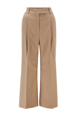 Wide-leg relaxed-fit trousers in traceable wool with stretch, Light Brown