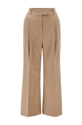 Relaxed-fit broek met wijde pijpen van traceerbare wol met stretch, Lichtbruin