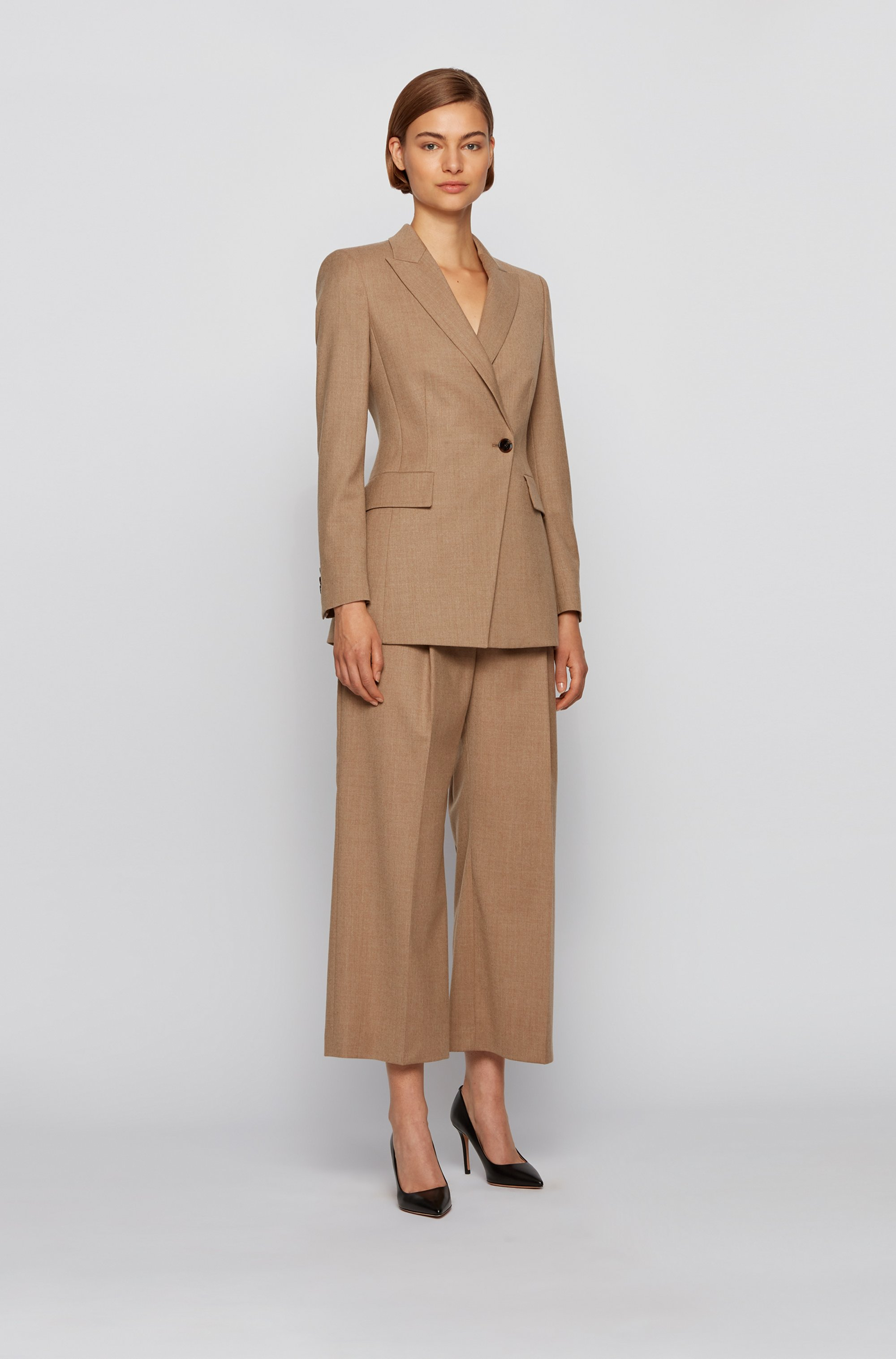 Wide-leg relaxed-fit trousers in traceable wool with stretch