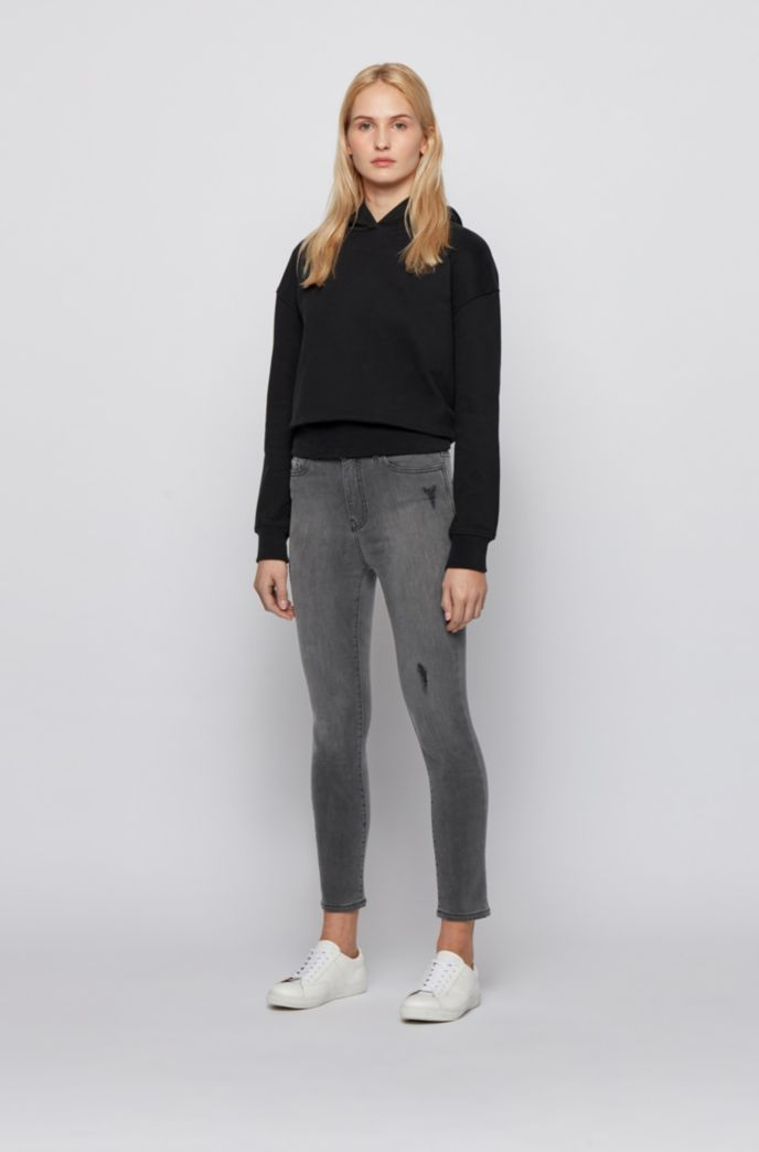 Cropped skinny-fit jeans in grey power-stretch denim
