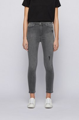 Cropped skinny-fit jeans in grey power-stretch denim, Dark Grey
