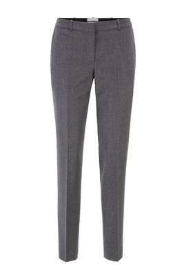 Pantalon court Regular Fit en laine vierge chinée traçable, Gris