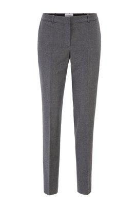 Melierte Regular-Fit Hose in Cropped-Länge aus nachverfolgbarer Schurwolle, Grau