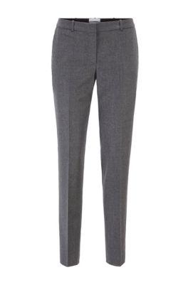 Regular-fit cropped trousers in traceable melange virgin wool, Grey