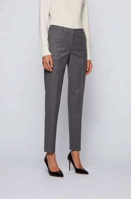 Regular-fit cropped trousers in traceable melange virgin wool, Grey