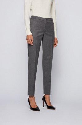 Pantalon court Regular Fit en laine vierge chinée traçable, Gris