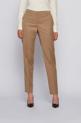 Regular-fit cropped trousers in traceable melange virgin wool, Light Brown