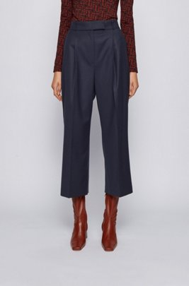 Relaxed-fit trousers in traceable stretch virgin wool, Dark Blue
