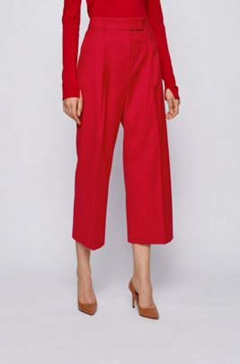 Relaxed-fit trousers in traceable stretch virgin wool, Red