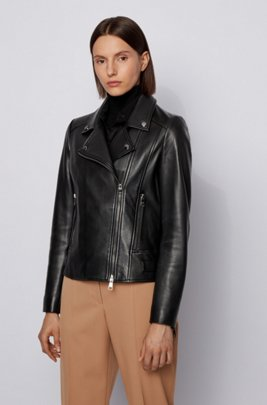 Regular-fit leather jacket with asymmetric zip, Black