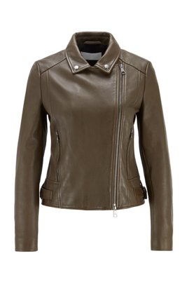 Regular-fit leather jacket with asymmetric zip, Light Green