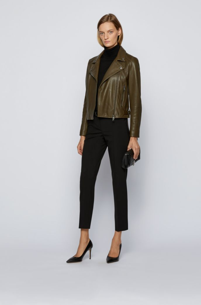 Regular-fit leather jacket with asymmetric zip