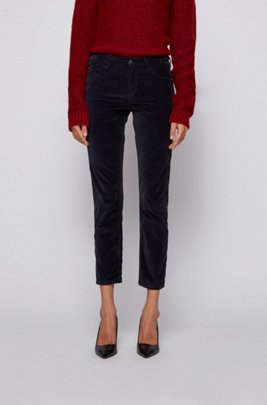 Slim-fit jeans in Italian stretch-cotton velvet, Light Blue