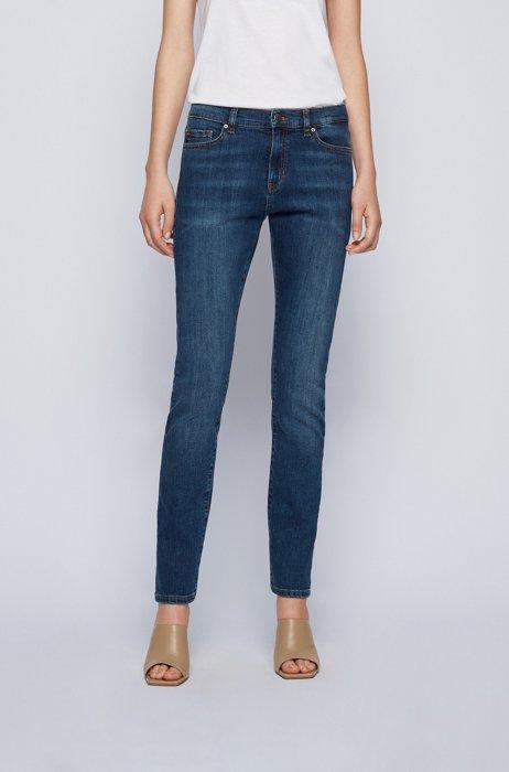 Slim-fit jeans in mid-blue super-stretch denim, Dark Blue