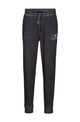 Garment-dyed jogging trousers in Recot2® cotton, Silver