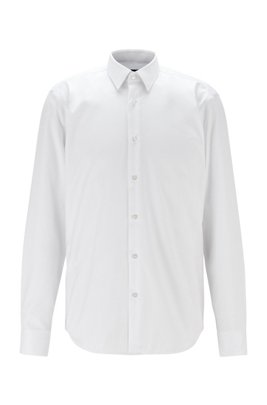 Wrinkle-free regular-fit shirt in cotton twill, White