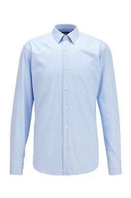 Regular-fit shirt in micro-patterned cotton, Light Blue