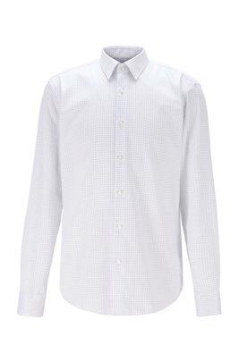 Regular-fit overhemd van kreukbestendige katoen, Blauw