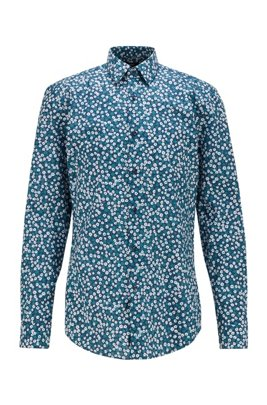 Chemise Slim Fit en popeline de coton à imprimé à fleurs, Bleu