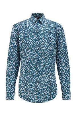 Slim-fit shirt in floral-print cotton poplin, Blue
