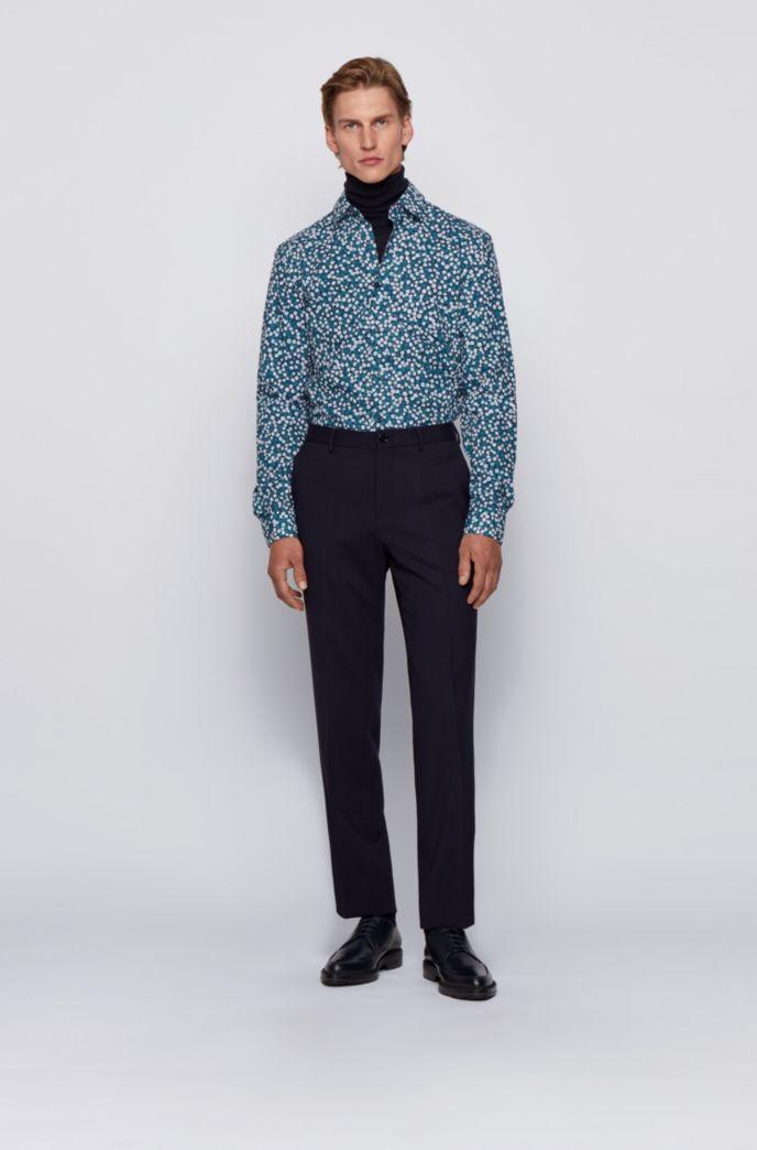 Slim-fit shirt in floral-print cotton poplin